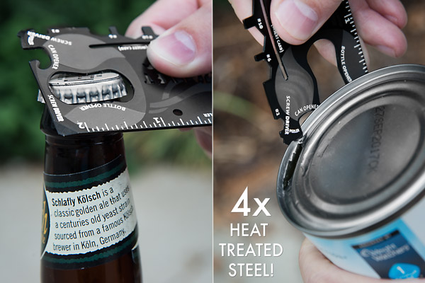The Wallet Ninja includes a bottle opener and can opener.