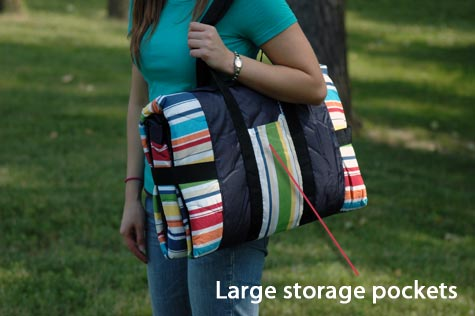 Waterproof Outdoor Blanket features a carrying case with large storage pockets