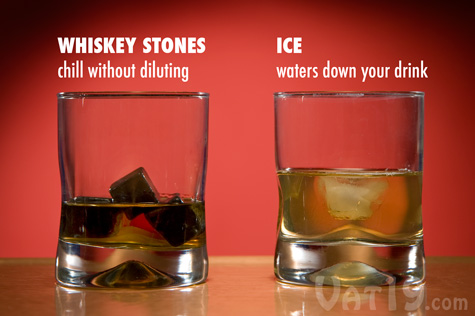 Ice cubes will ruin the taste of the bourbon whereas Whiskey Stones preserve the flavor.