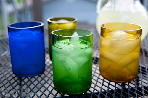 Beautiful drink glasses made from recycled wine bottles.