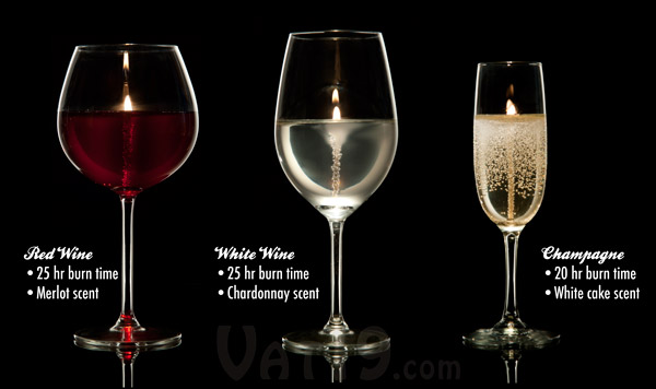 Chose from Red Wine Glass Candle, White Wine Glass Candle, or Champagne Glass Candle.