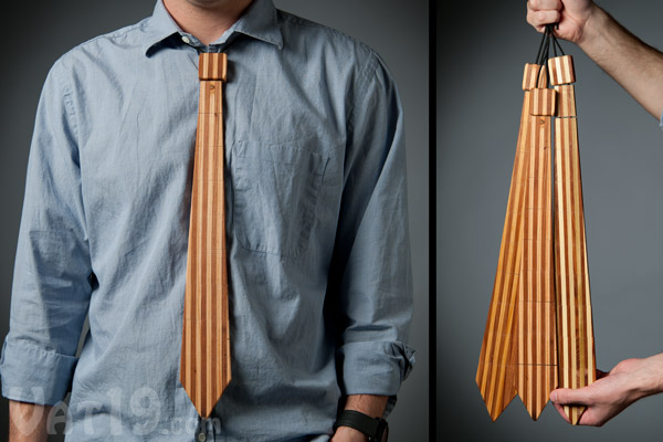 Striped Wooden Necktie
