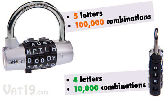 WordLock Luggage Locks feature up to 10,000 possible word combinations. WordLock Padlocks feature up to 100,000 possible combinations.