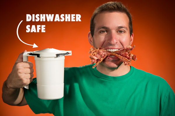 The WowBacon Microwave Bacon Cooker is dishwasher safe.