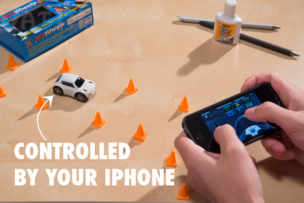 Remote control microcar for your iPhone, iPod, and iPad.
