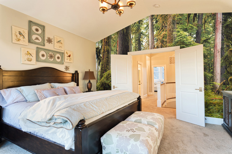 Forest wallpaper mural in bedroom
