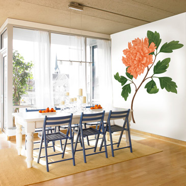 peony mural in dining room