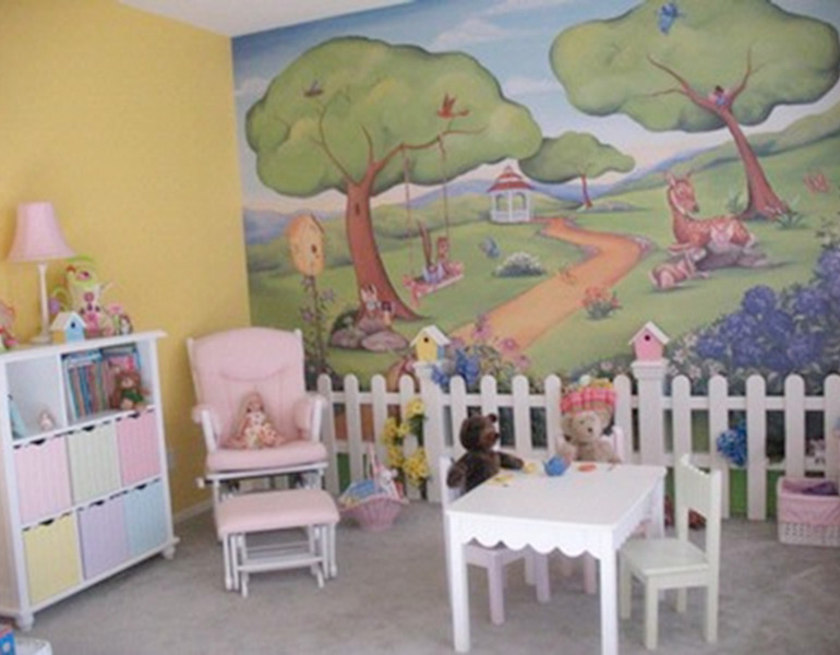 kids playroom mural with fence