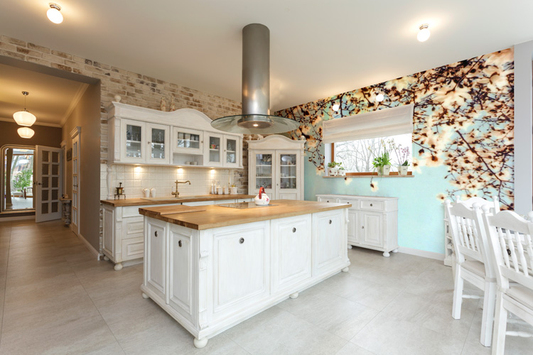 floral mural in kitchen
