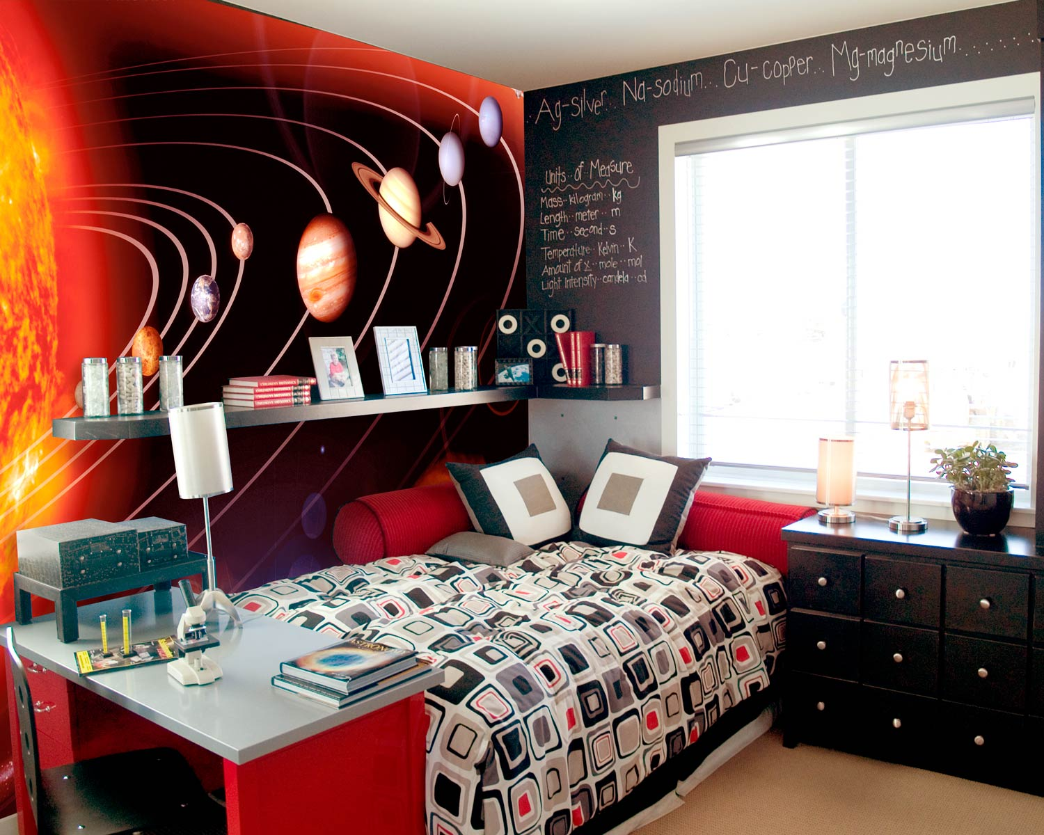 outer space mural for kids room