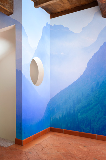 mountain mural in unique space