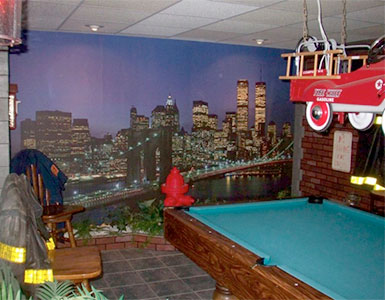 NYC wallpaper mural in man cave
