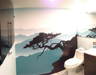 Scenic Wallpaper in Bathroom