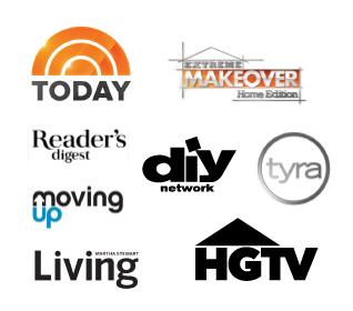 logos for the following: The Today Show, Extreme Makeover: Home Edition, Reader's Digest, DIY Network, Tyra, Moving Up, Martha Stewart Living, HGTV