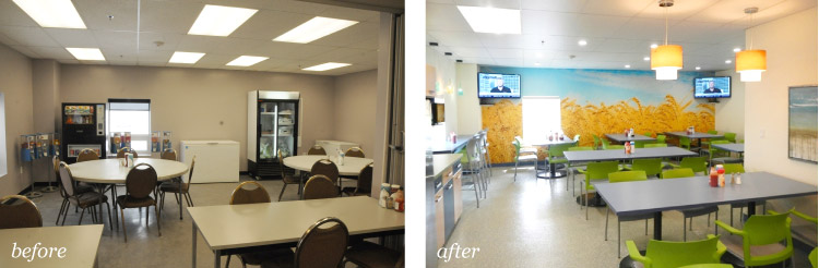 before and after of cafeteria room with custom wheat mural