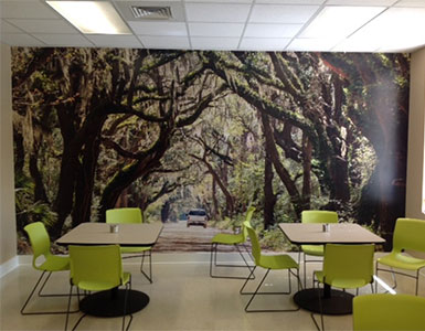 tree mural in lunchroom