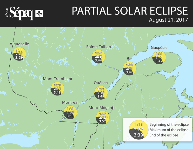 Map of the partial solar eclipse