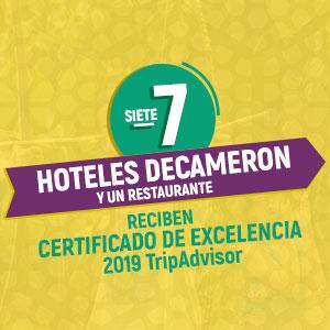 Hoteles Decameron recibe Certificados de Excelencia en 2019 de TripAdvisor