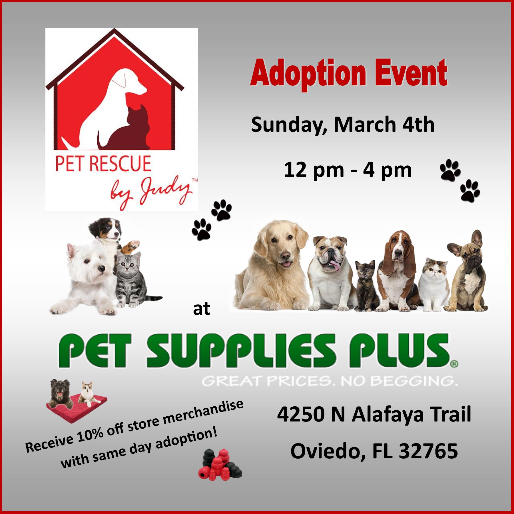 Events pet supplies plus adoption event sunday march 4th 2018 1200 pm until 0400 pm location pet supplies plus map 4250 n alafaya trail oviedo fl 32765 solutioingenieria Images