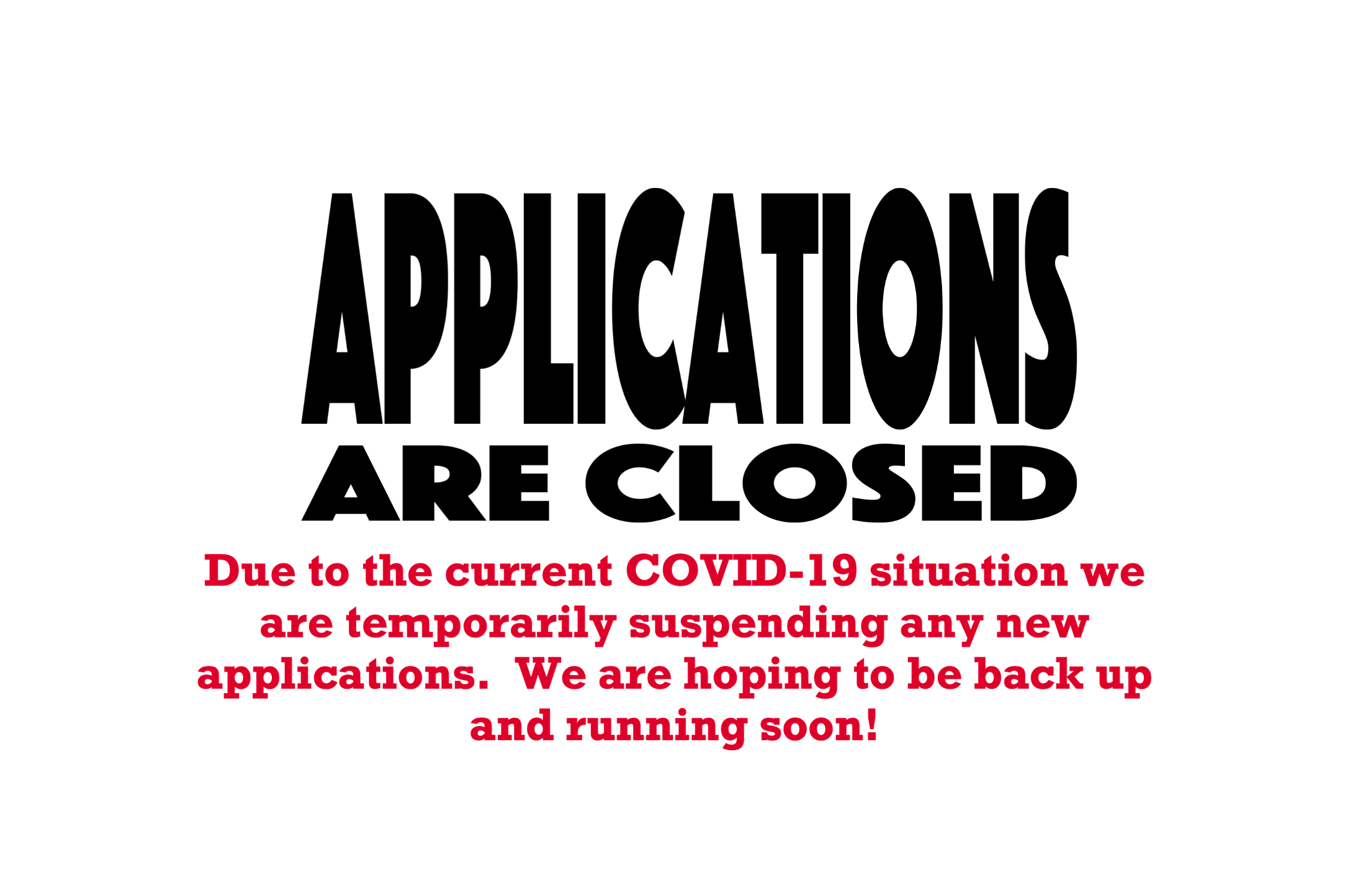 2020 Application Closed