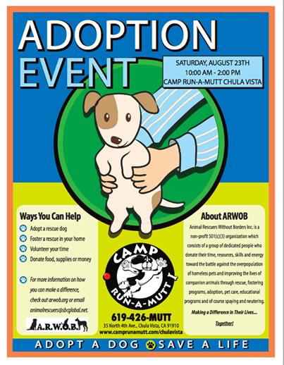 Adoption Event at the NEW Camp-run-a-Mutt in Chula Vista!