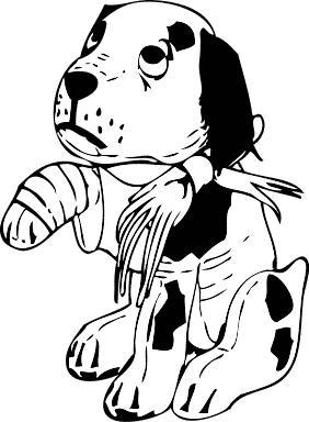 dogcartoonbrokenpaw