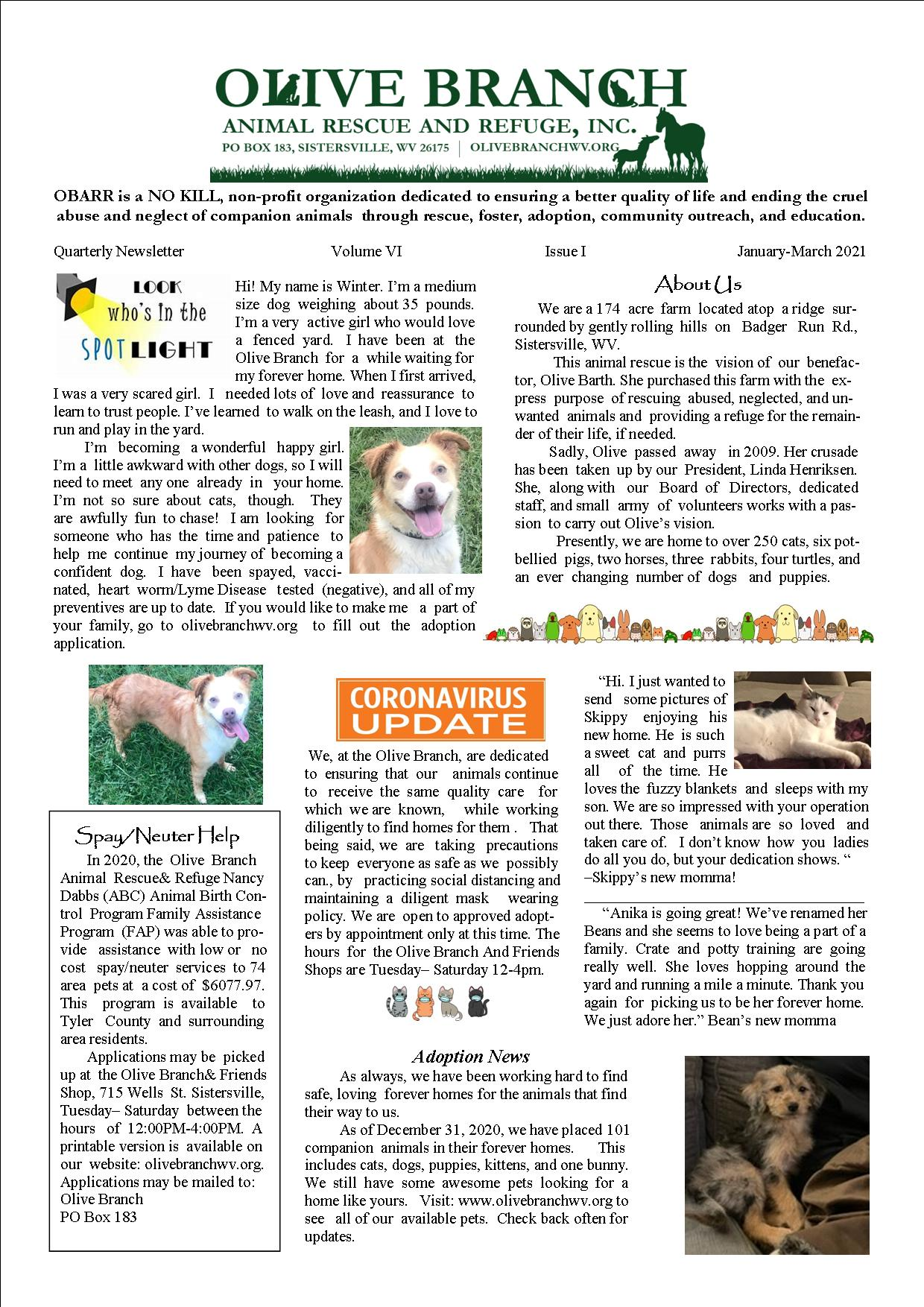 Newsletter Jan-March 2021 Page 1