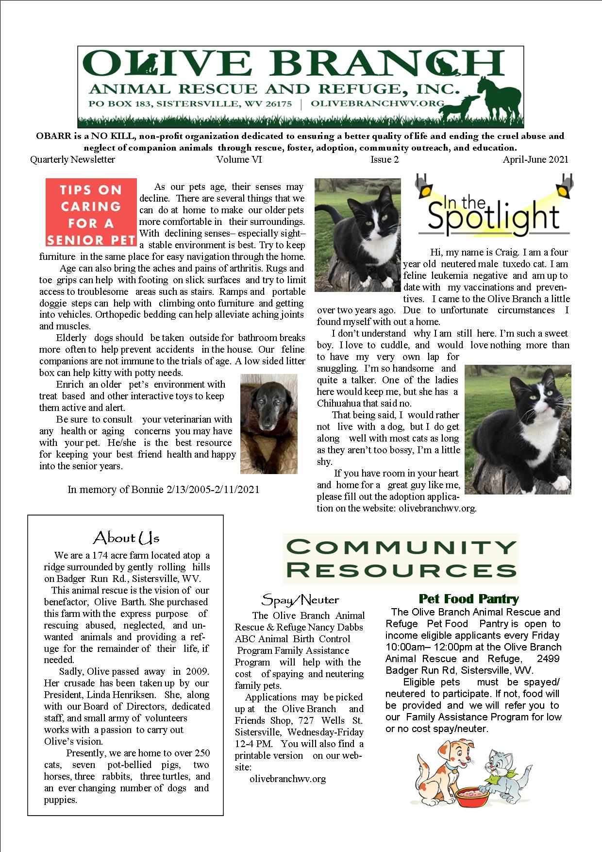 Newsletter April June 2021 page 1