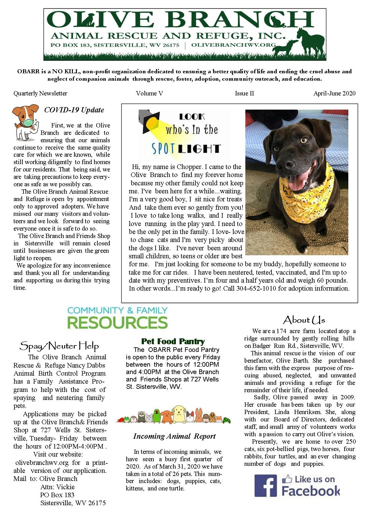 Newsletter April to June 2020 page 1