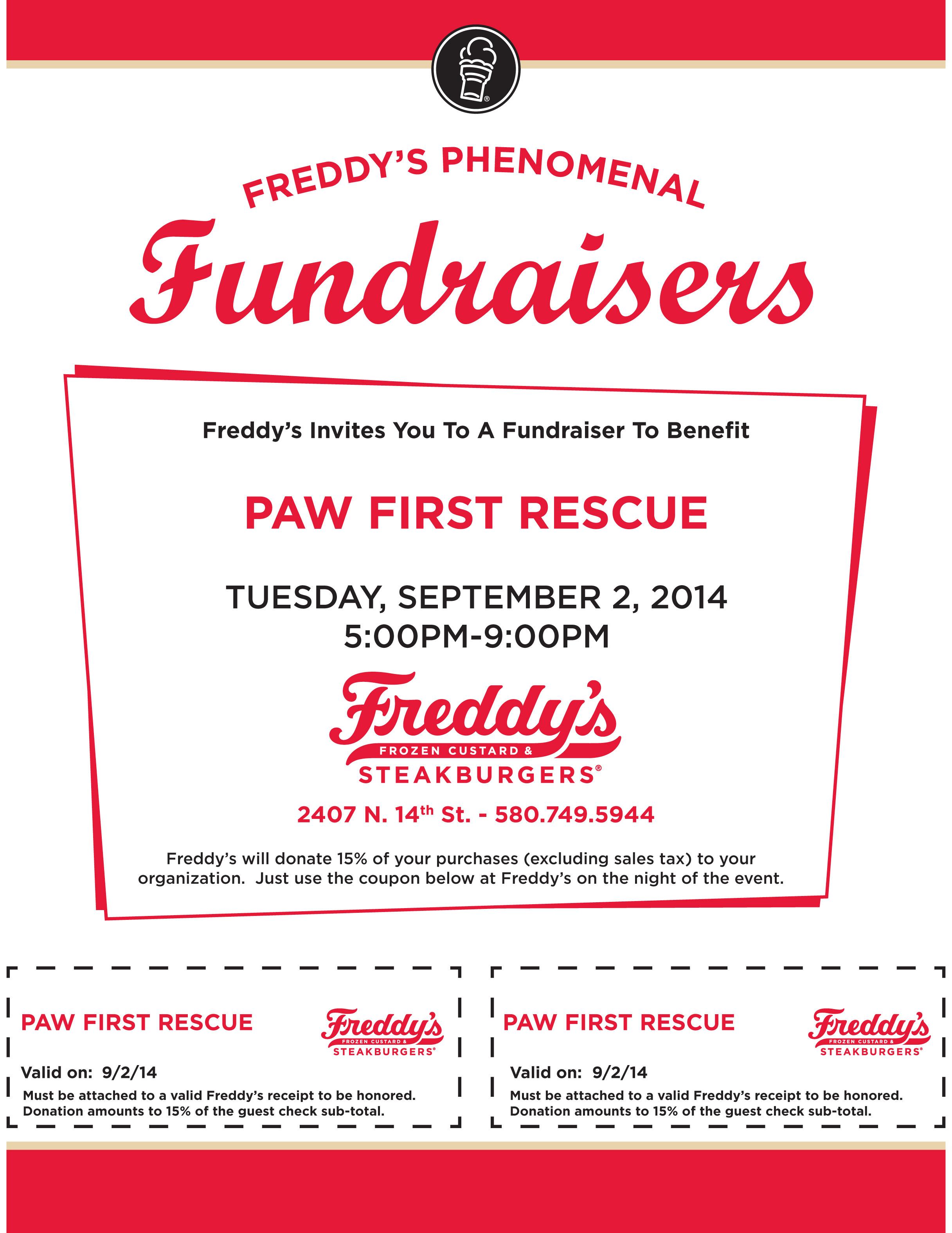 freddys yes fundraiser september