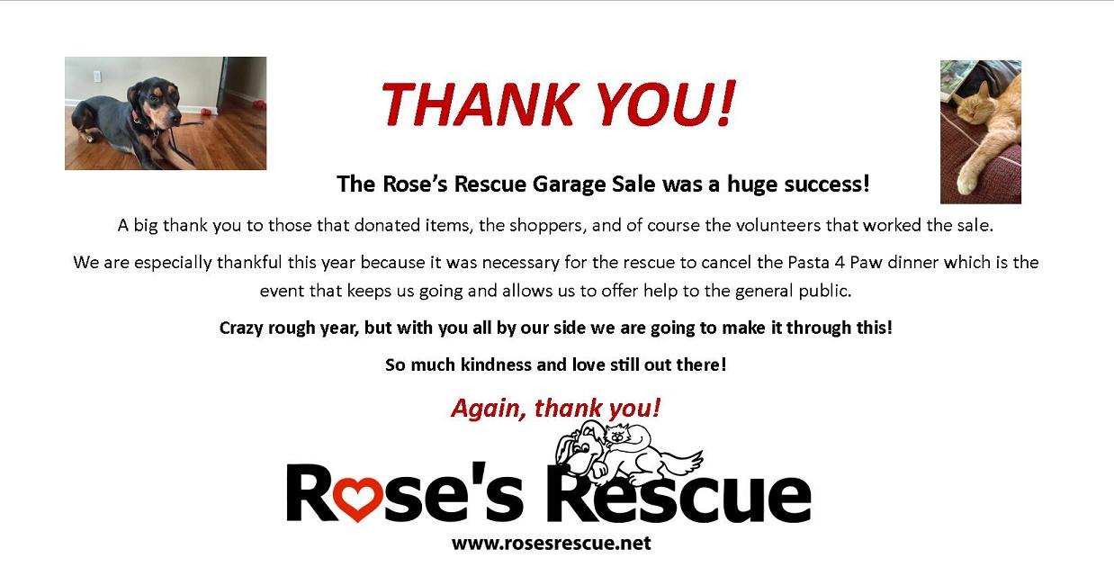 Garage Sale Thank You
