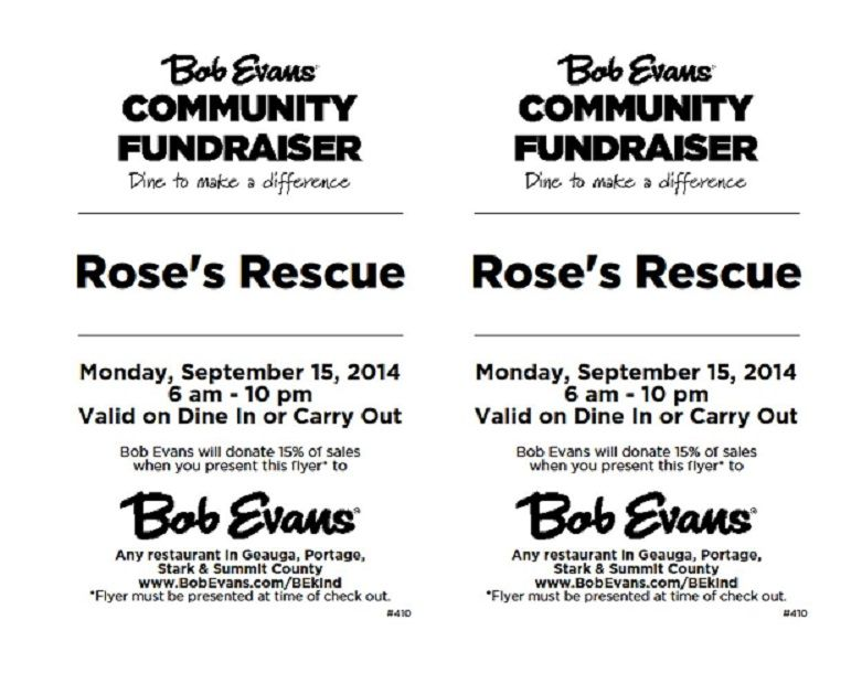 Dine to Donate at Bob Evans flyer 9-16-2014