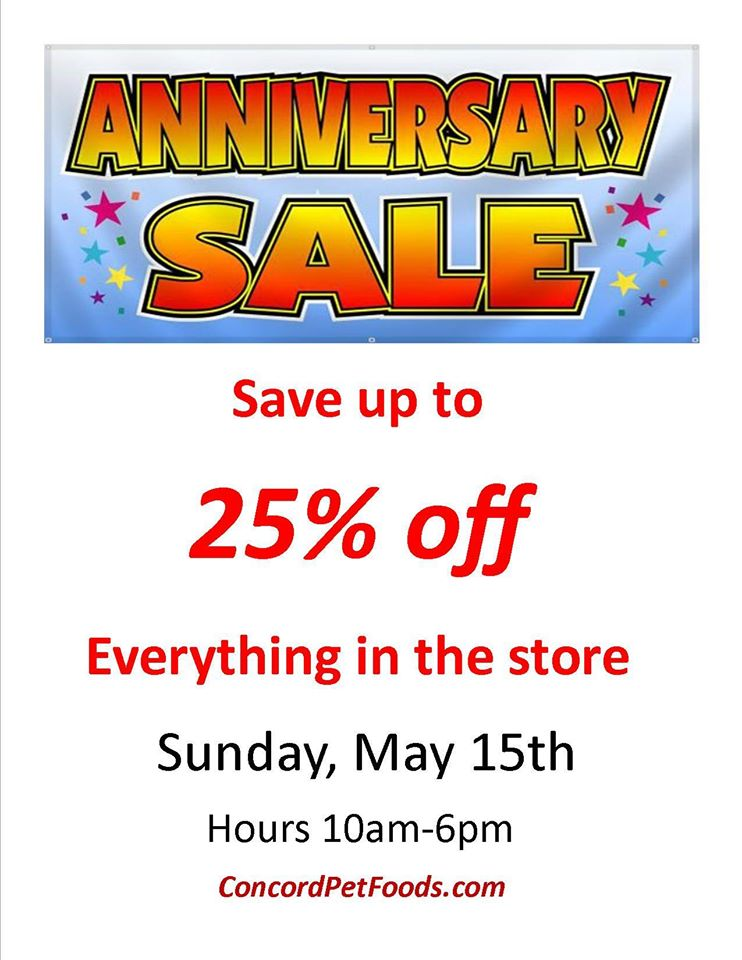 """On Sunday May 15th Concord Pet Foods will be holding their Annual Spring Anniversary Sale at all locations! We will be set up at the Seaford store for our """"Stuff the Van"""" event from 9AM until 1PM."""