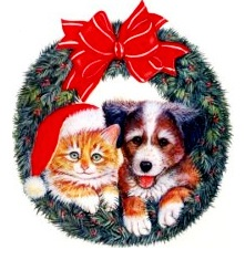 image of dog and cat in holiday wreath