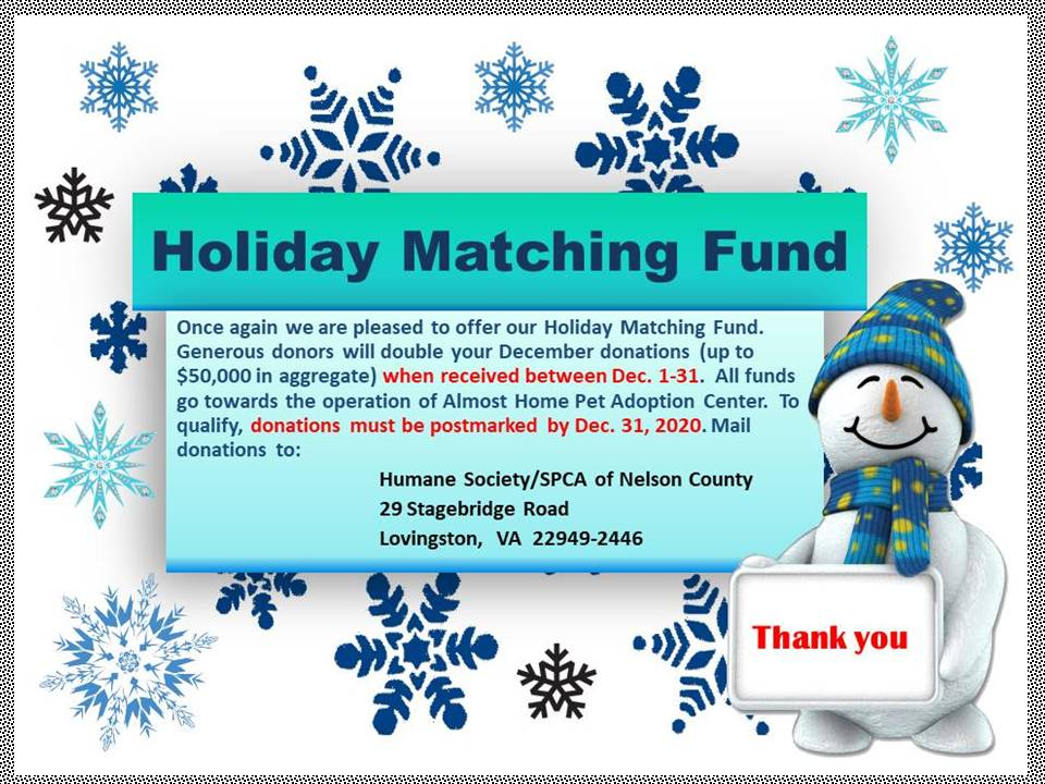 2020 hOLIDAY mATCHING fUNDS