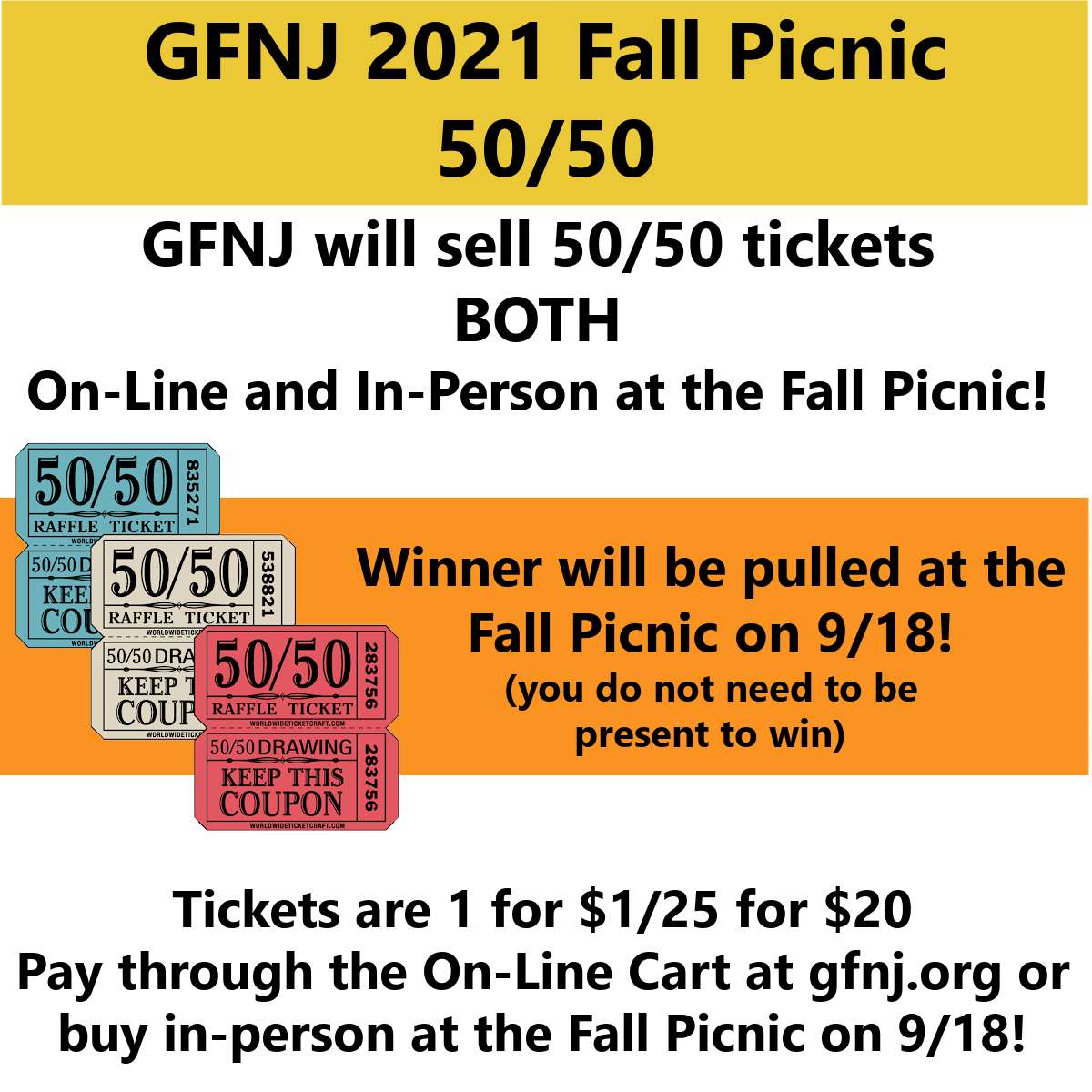 2021 Fall Picnic On-Line 50/50a
