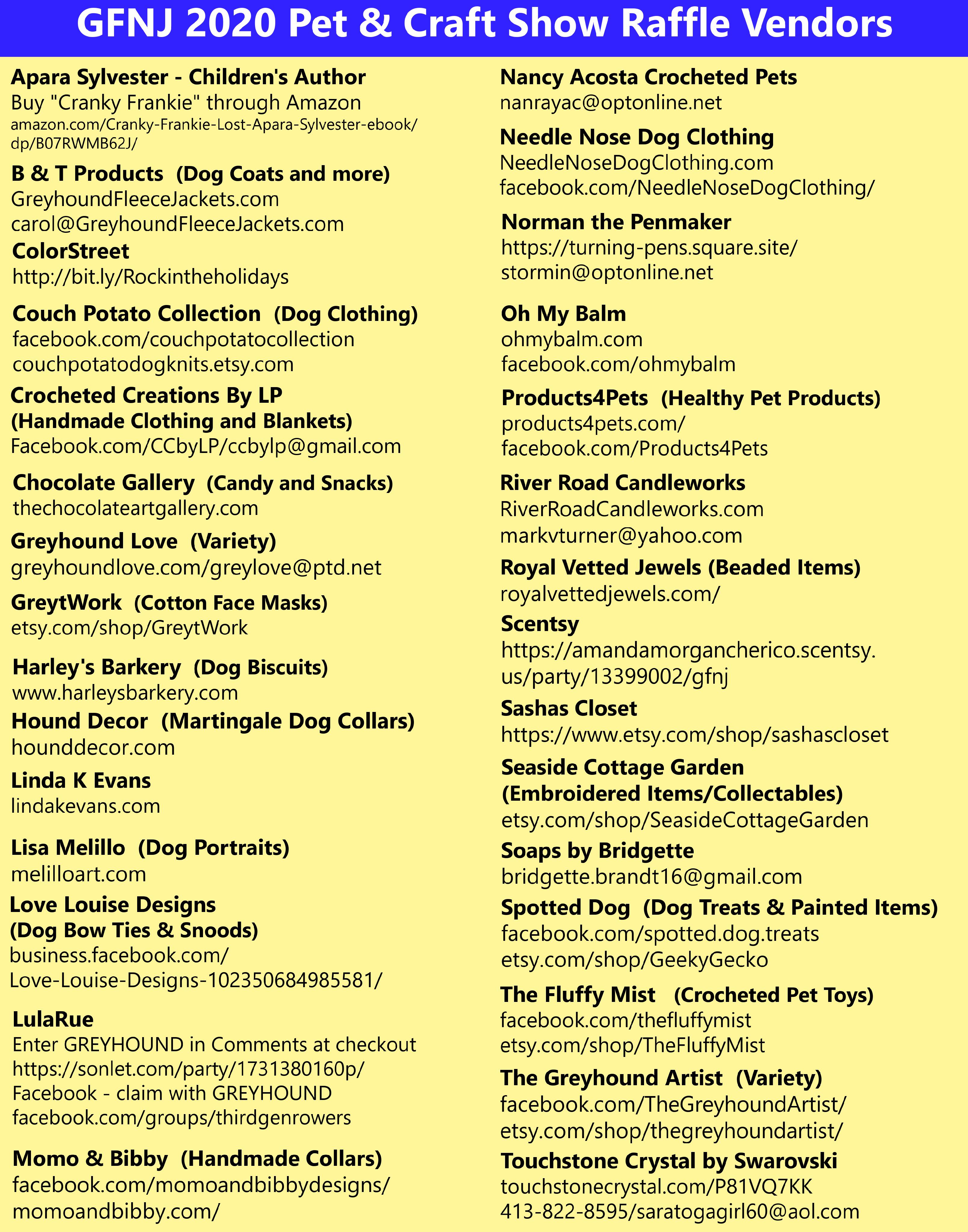 2020 Craft Show Vendors 11172020
