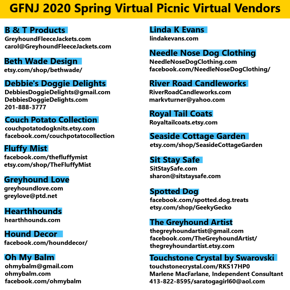 2020 Virtual Picnic Vendors