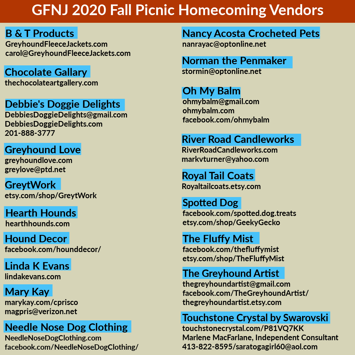 2020 Fall Picnic Vendors