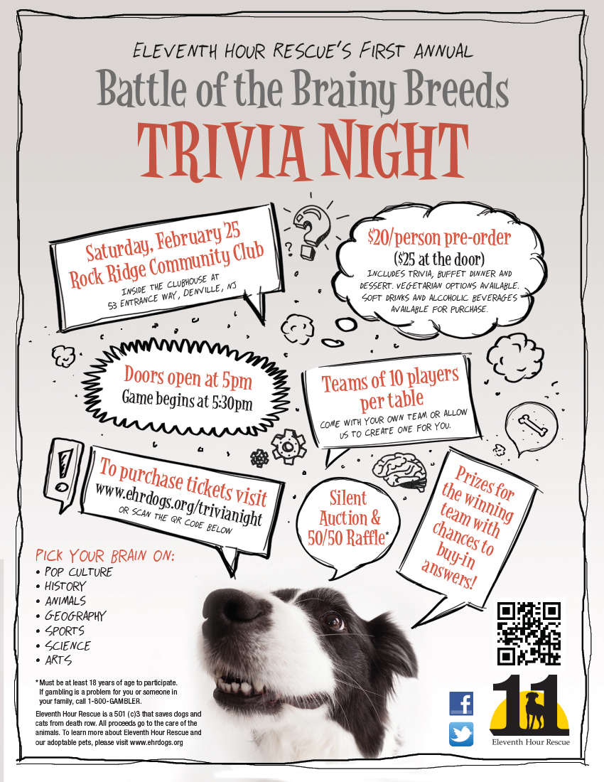 Eleventh Hour Rescue - Battle of the Brainy Breeds Trivia Night @ Rock Ridge Community Clubhouse | Denville | New Jersey | United States