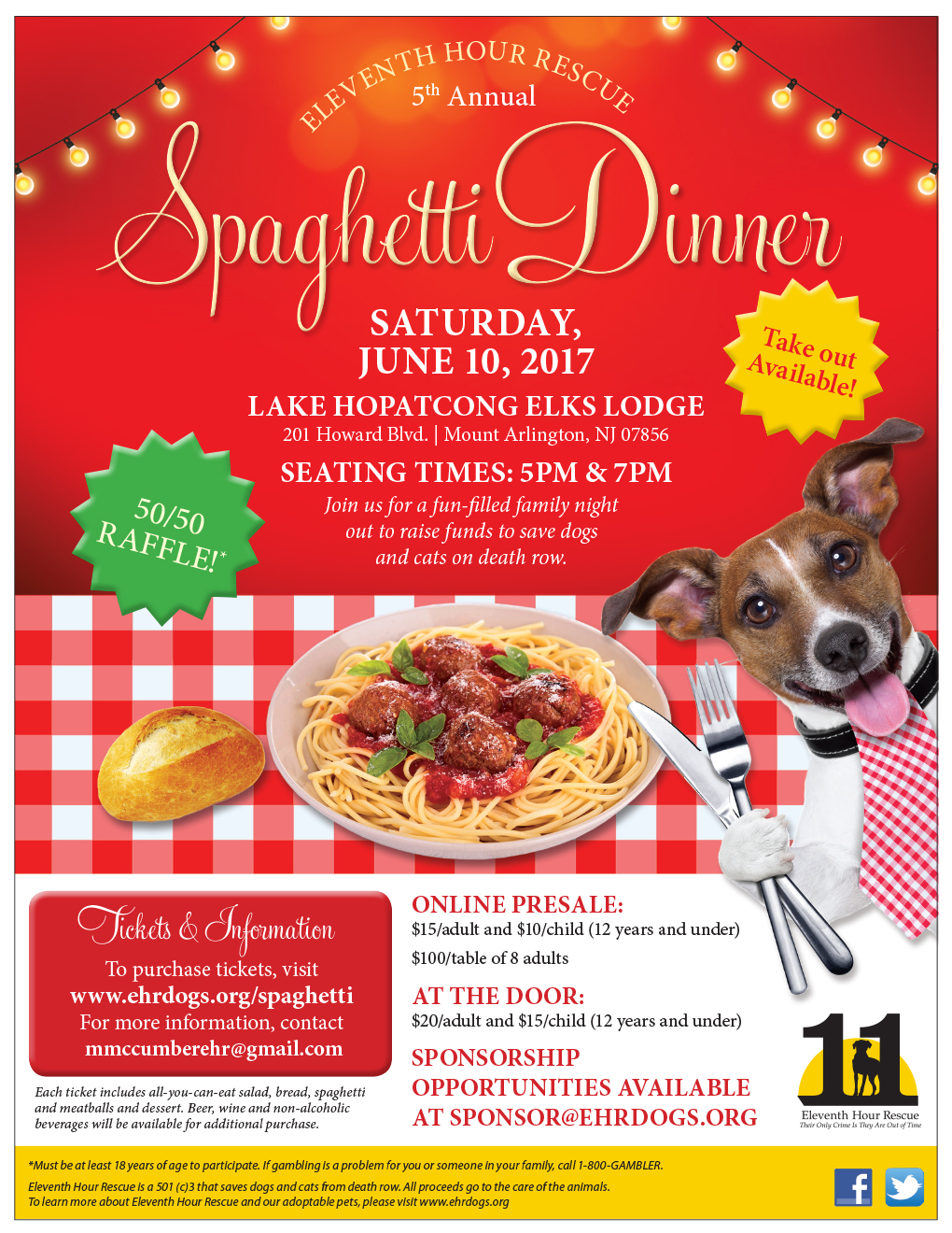 Eleventh Hour Rescue - Spaghetti Dinner @ Lake Hopatcong Elks Lodge | Mount Arlington | New Jersey | United States