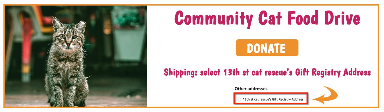 Community Cat Food Drive - Amazon Wishlist