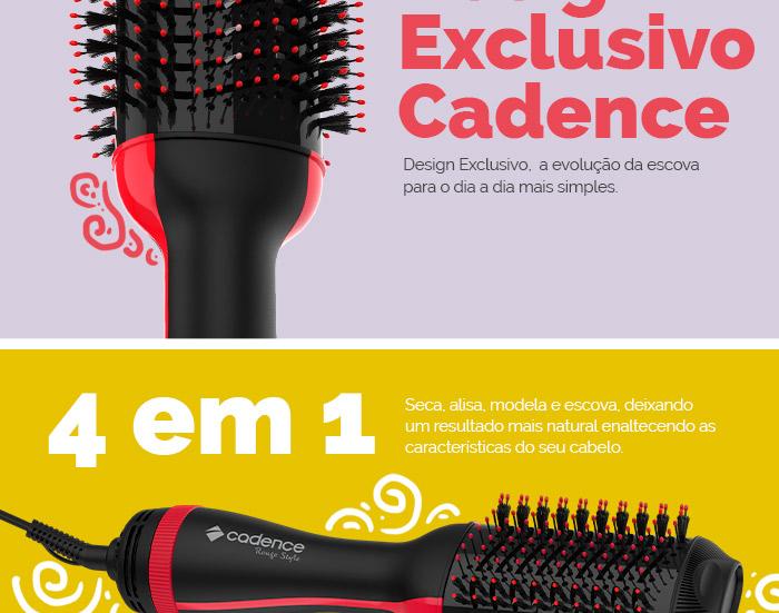Escova Secadora Cadence Rouge Style 4 em 1