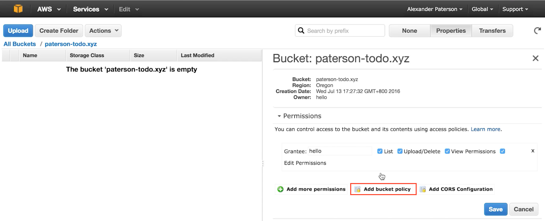 Adding An S3 Bucket Policy