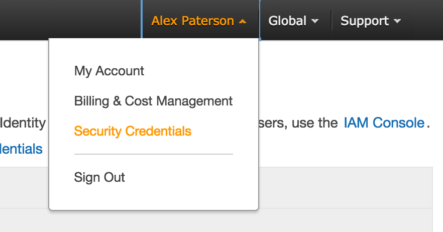 AWS Account Dropdown menu