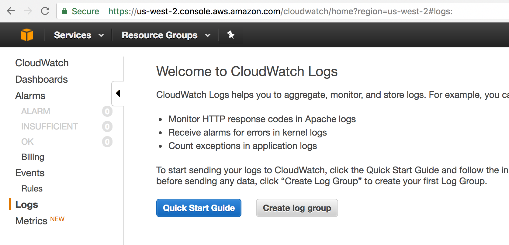 CloudWatch Create Log Group