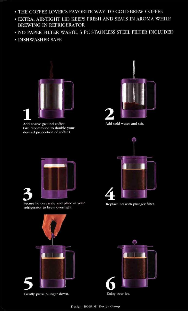 Bodum Bean K11081 01 French Press Cold Brew Iced Coffee Maker Black