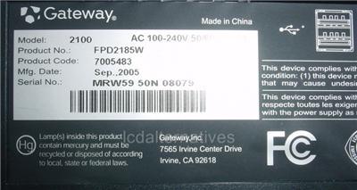 Gateway fpd2185w