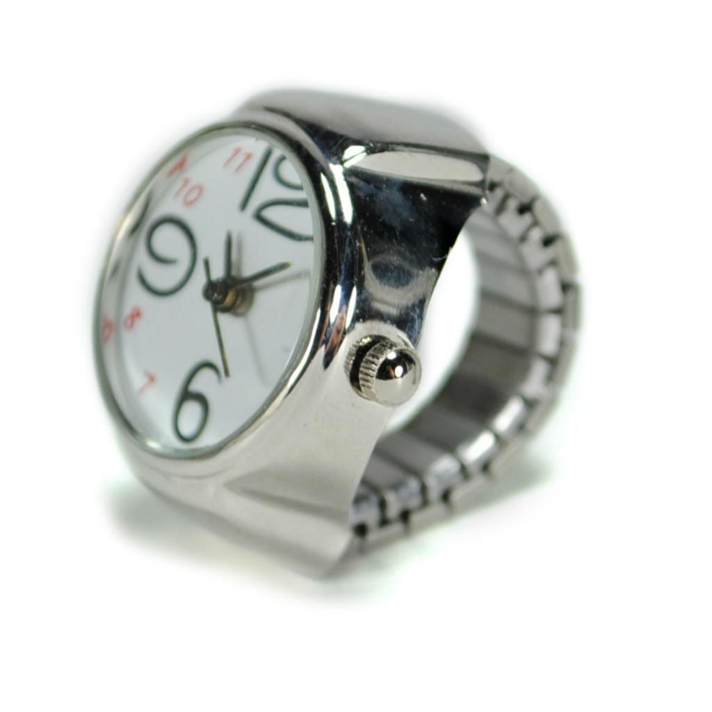 Watch Ring Finger Stretch Band Chrome Time Jewelry New