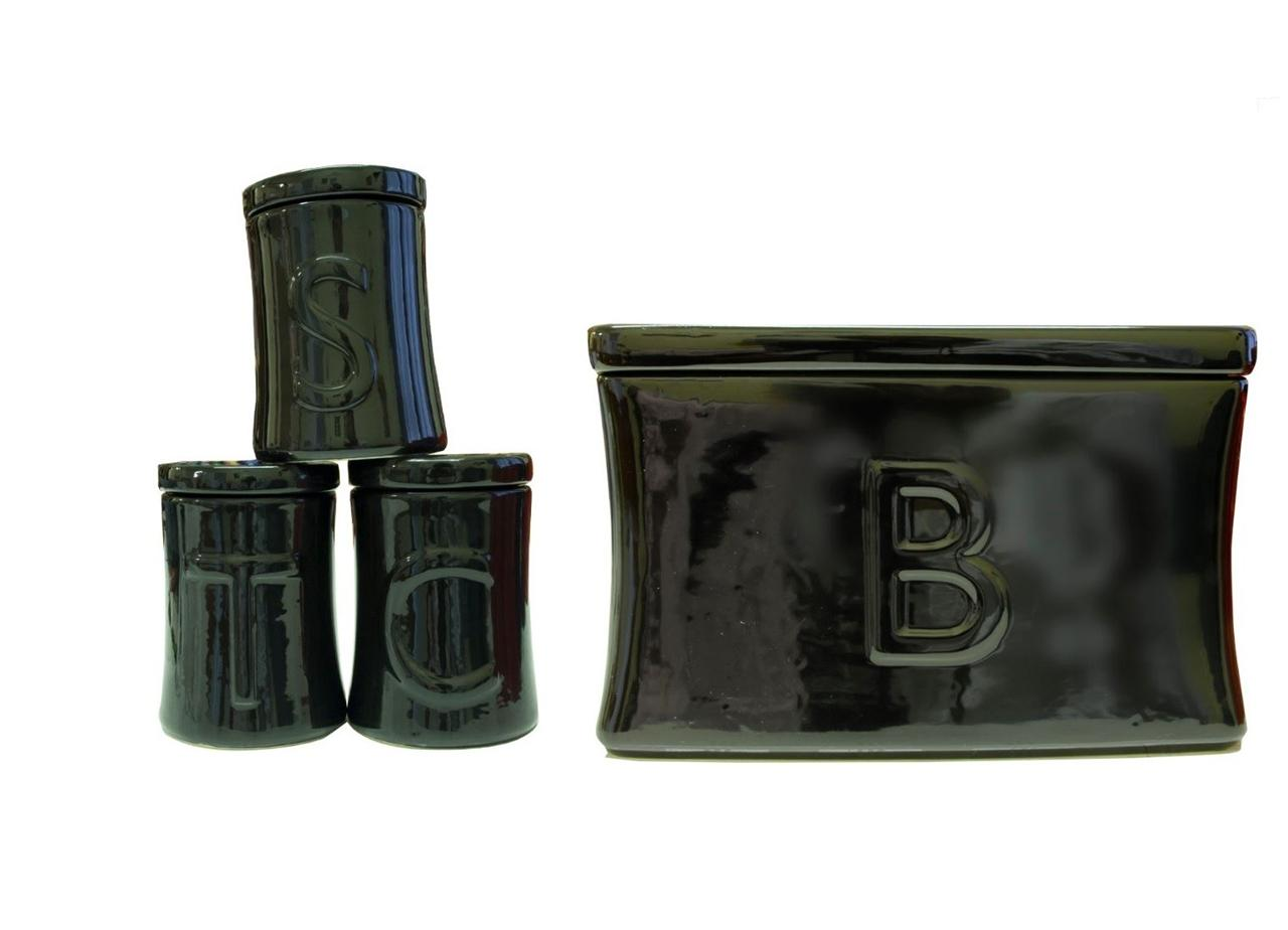 Ceramic Tea Coffee Sugar Utensil Jar Set Amp